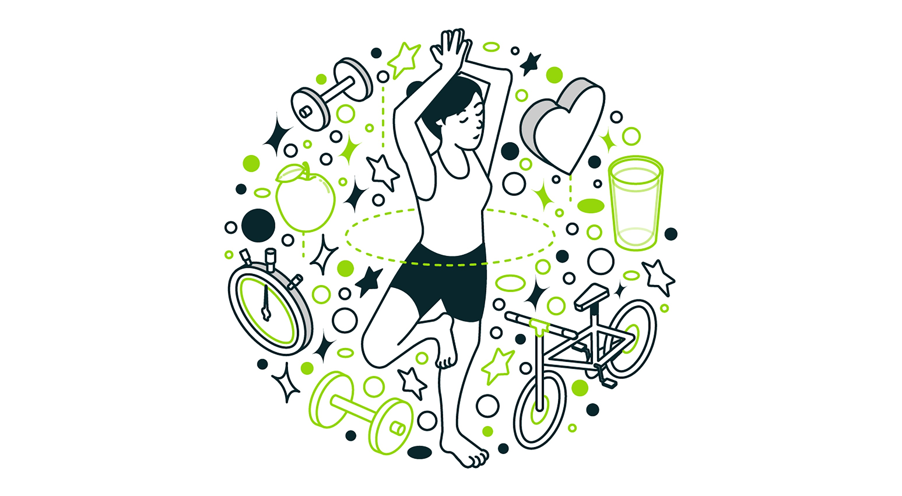 health-wellness_illustration-woman-doing-yoga-surrounded-by-fitness-equipment