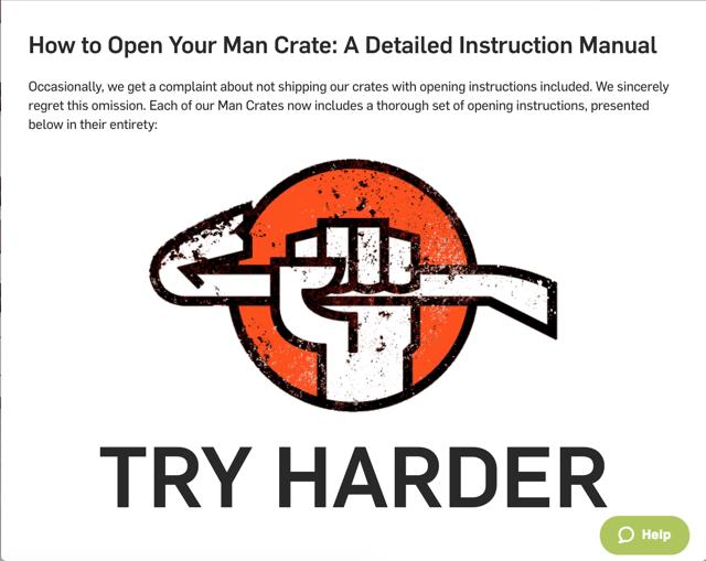 Man Crates unboxing instructions