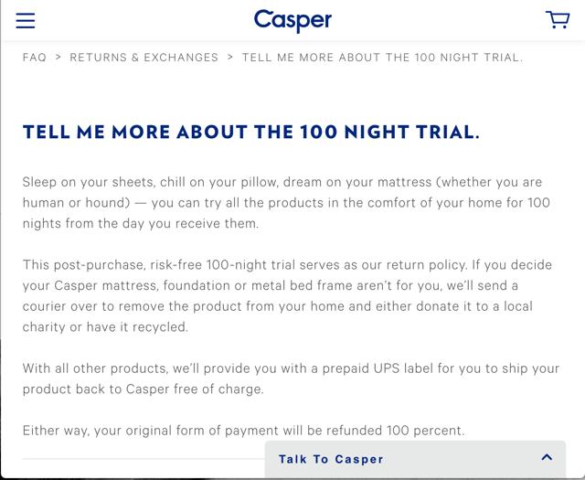 casper return policy